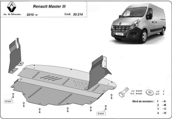 Метална кора под двигател и скоростна кутия RENAULT MASTER от 2010