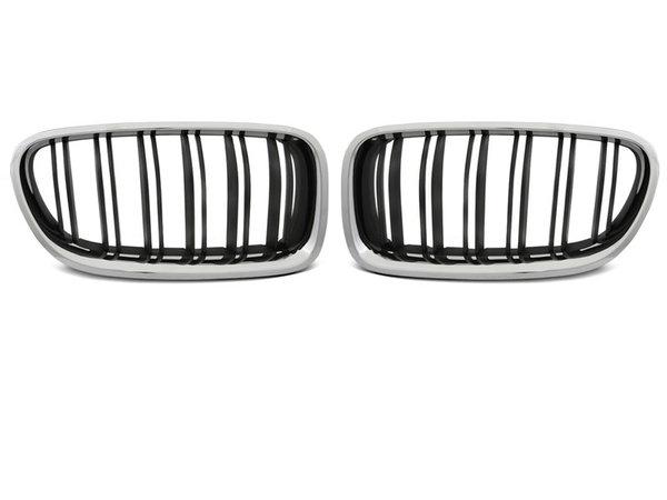 Тунинг решетки бъбреци черни с хром рамка за BMW F10 / F11 10-16 M5 LOOK