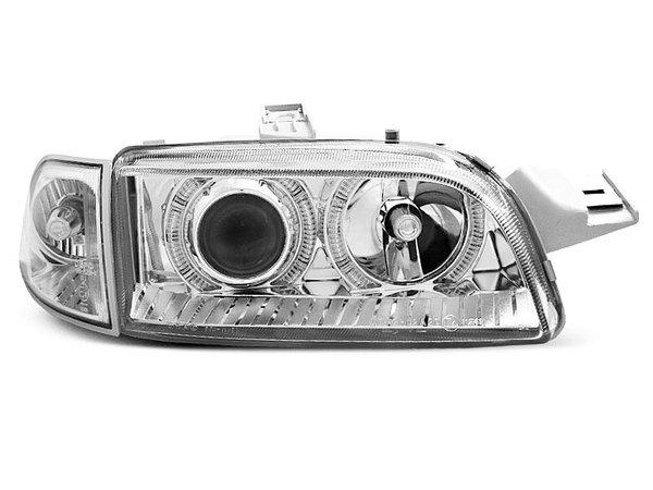 Тунинг фарове с халогенни ангелски очи с мигач хром за Fiat PUNTO 1 11.1993-09.1999