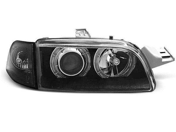 Тунинг фарове с халогенни ангелски очи с мигач черни за Fiat PUNTO 1 11.1993-09.1999