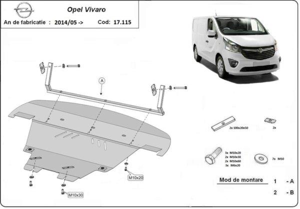 Метална кора под двигател и скоростна кутия след 2014 OPEL VIVARO от 2006