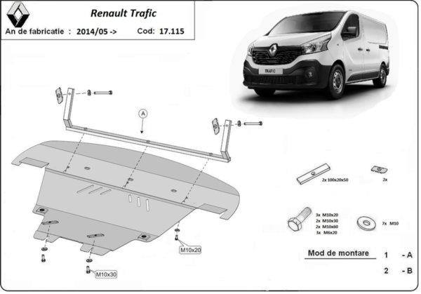 Метална кора под двигател и скоростна кутия след 2015 RENAULT TRAFIC от 2014