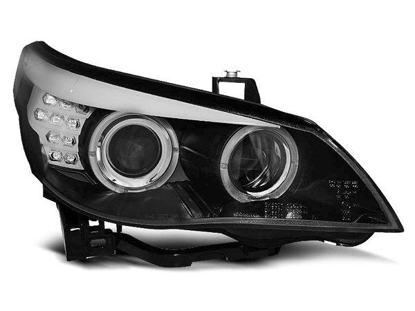 Тунинг фарове с халогенни ангелски очи за BMW E60/E61 2003-2007 - черни