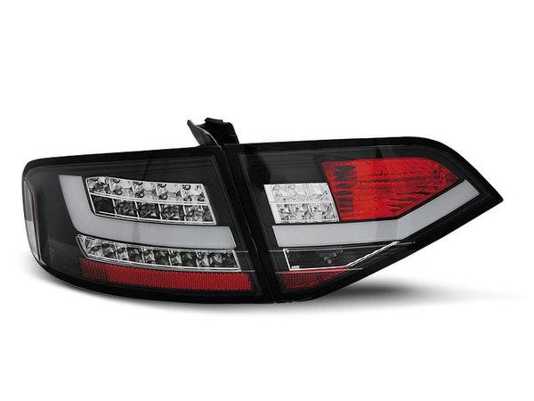 Тунинг LED стопове за Audi A4 B8 2008-2011 седан, версия без фабрични led стопове - черн-хром-червено