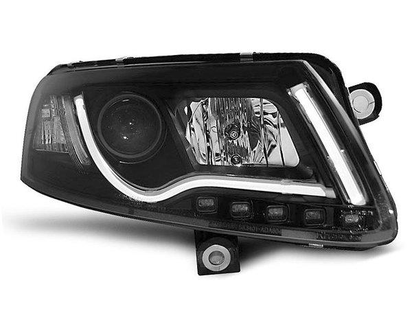 Тунинг фарове черни с истински DRL светлини за Audi A6 C6 04.2004-2008 седан/комби