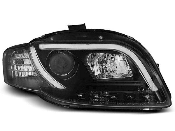 Тунинг фарове черни с истински DRL светлини за Audi A4 B7 11.2004-03.2008 седан/комби/кабрио