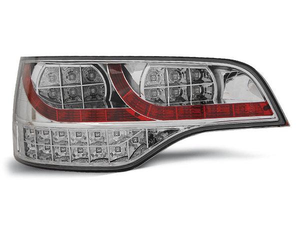 Тунинг LED стопове хром червено за Audi Q7 2006-2009