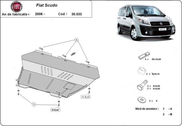 Метална кора под двигател и скоростна кутия FIAT SCUDO от 2006