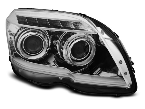 Тунинг фарове хром с TUBE LIGHT за MERCEDES GLK X204 06.08-08.12
