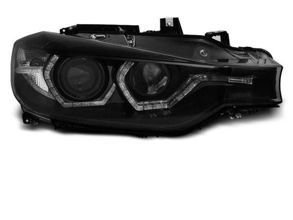 Тунинг фарове с TRU DRL и ANGEL EYES черни за BMW F30/F31 10.11 - 05.15