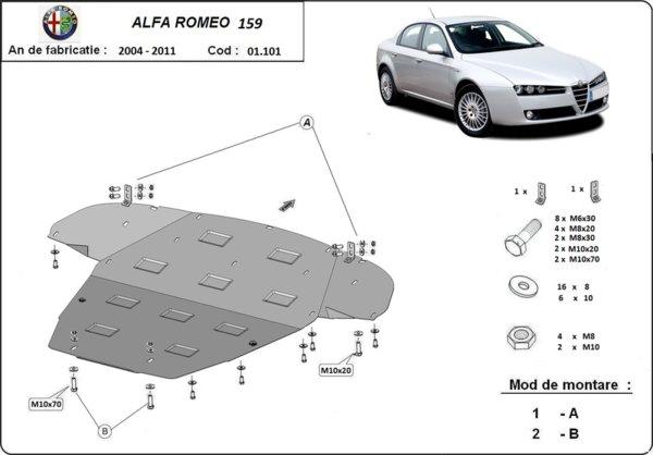 Метална кора под двигател и скоростна кутия ALFA ROMEO 159 (939) от 2005 до 2011