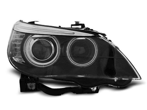 Тунинг фарове черни с CCFL ANGEL EYES ксенон D1S и две лупи за BMW E60/E61 05-07
