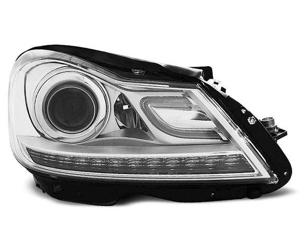 Тунинг фарове хром с LED светлини за MERCEDES W204 C-KLASA 2011-2014