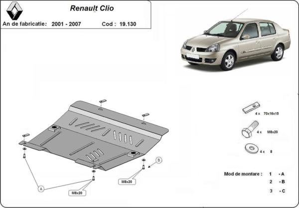 Метална кора под двигател и скоростна кутия RENAULT CLIO от 2001 до 2005