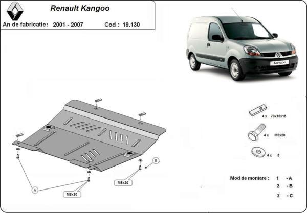 Метална кора под двигател и скоростна кутия RENAULT KANGOO от 2003 до 2008
