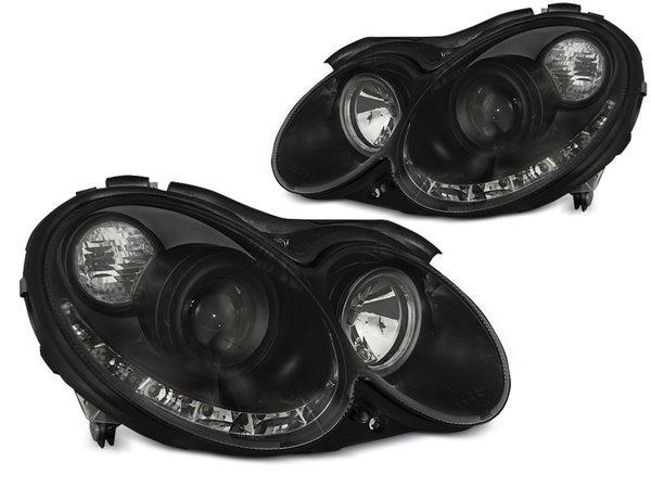 Тунинг фарове черни с LED светлини за MERCEDES W209 CLK 2003-2010