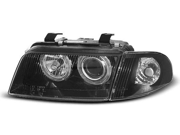 Тунинг фарове черни с халогенни ангелски очи за Audi A4 B5 11.1994-12.1998 седан/комби