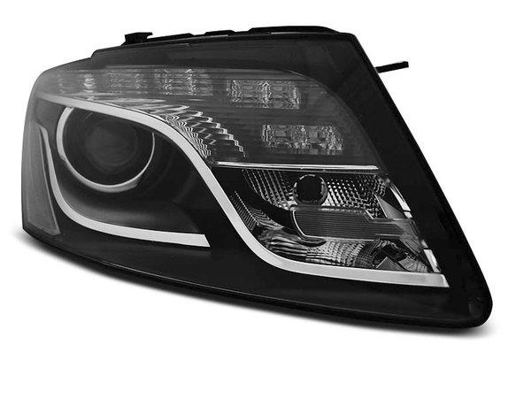 Тунинг фарове черни с истински DRL светлини за Audi Q5 11.2008 - 09.2012