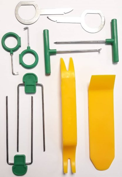 Комплект инструменти за разглобяване на интериорни кори, сваляне на авторадио, навигация