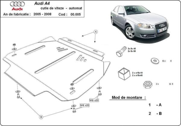 Метална кора под скоростна кутия AUDI A4 B7 от 2004 до 2008