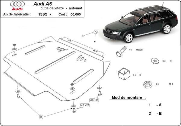 Метална кора под скоростна кутия AUDI A6 C5 от 1997 до 2005