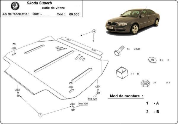 Метална кора под скоростна кутия SKODA SUPERB от 2002 до 2008