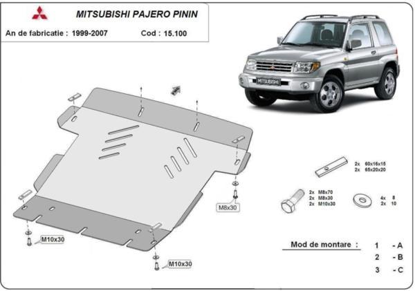 Метална кора под двигател MITSUBISHI PAJERO от 2000 до 2006