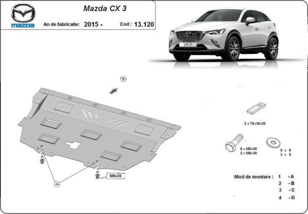 Метална кора под двигател и скоростна кутия MAZDA CX 3 ot 2015