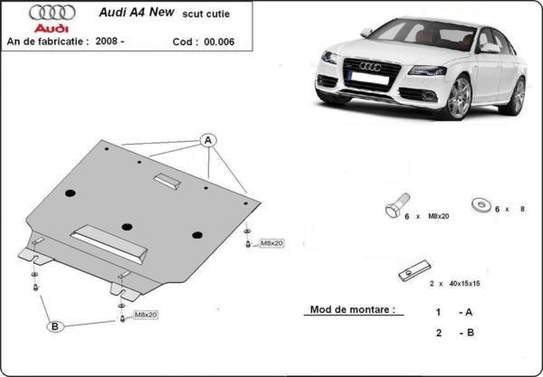 Метална кора под скоростна кутия AUDI A4 (8K2, B8) от 2012 до 2015