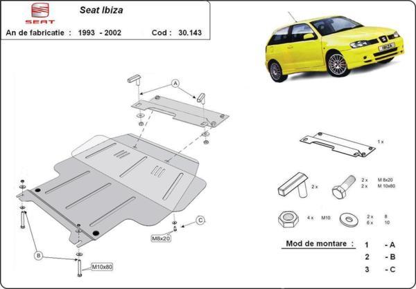 Метална кора под двигател и скоростна кутия SEAT IBIZA / CORDOBA от 1993 до 1999