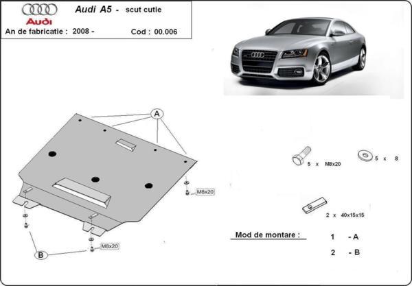 Метална кора под скоростна кутия AUDI A5 Sportback (8TA) от 2009 до 2012
