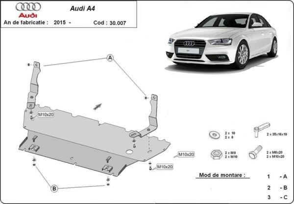 Метална кора под двигател AUDI A4 (8W, B9) от 2015