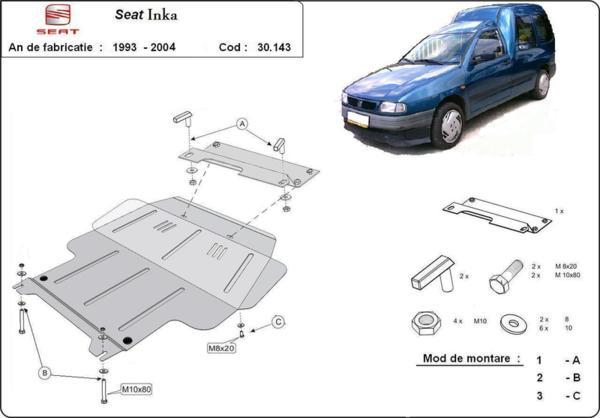Метална кора под двигател и скоростна кутия SEAT INCA от 1995 до 2003