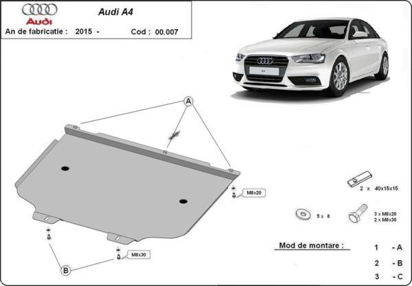 Метална кора под скоростна кутия AUDI A4 (8W, B9) от 2015