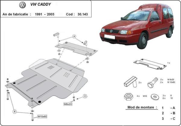 Метална кора под двигател и скоростна кутия VOLKSWAGEN CADDY II от 1995 до 2004
