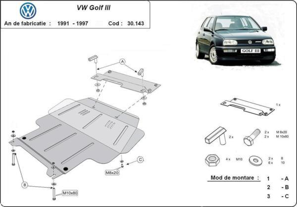 Метална кора под двигател и скоростна кутия VOLKSWAGEN GOLF III от 1991 до 1998