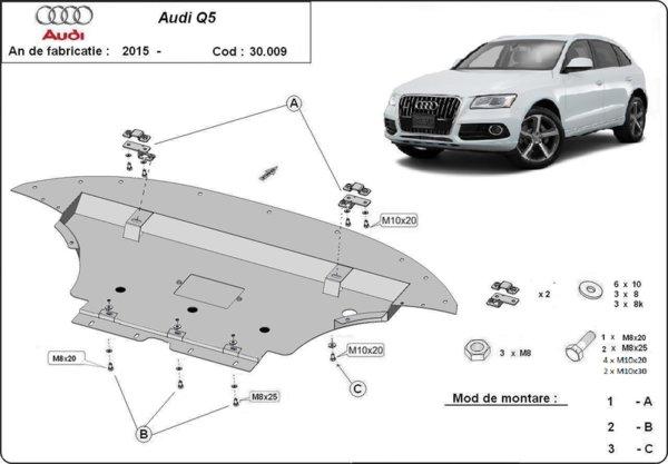Метална кора под двигател AUDI Q5 (8R) от 2008 до 2012