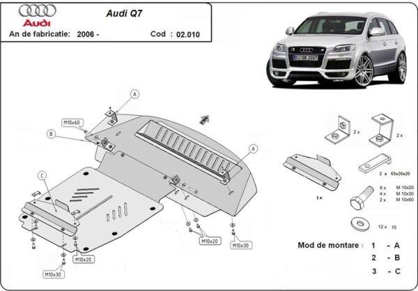 Метална кора под двигател AUDI Q7 (4L) от 2006 до 2009