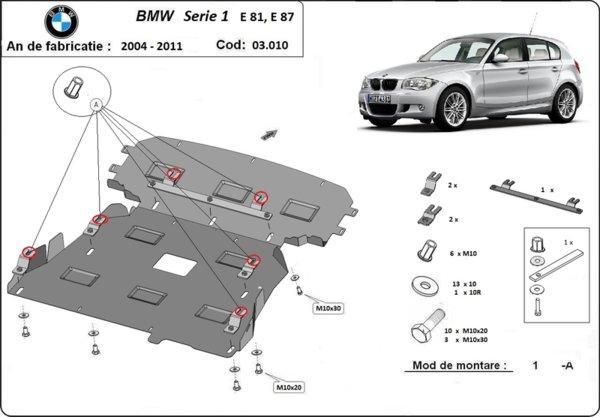Метална кора под двигател и скоростна кутия BMW 1 Ser (E87) от 2003 до 2013