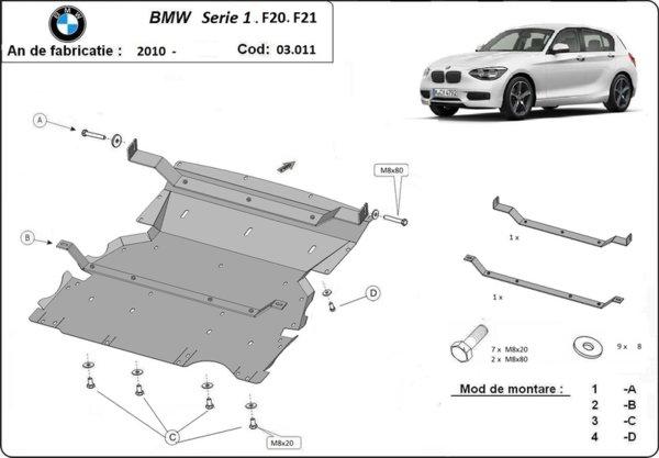 Метална кора под двигател и радиатор BMW 1 Ser (F20) от 2010