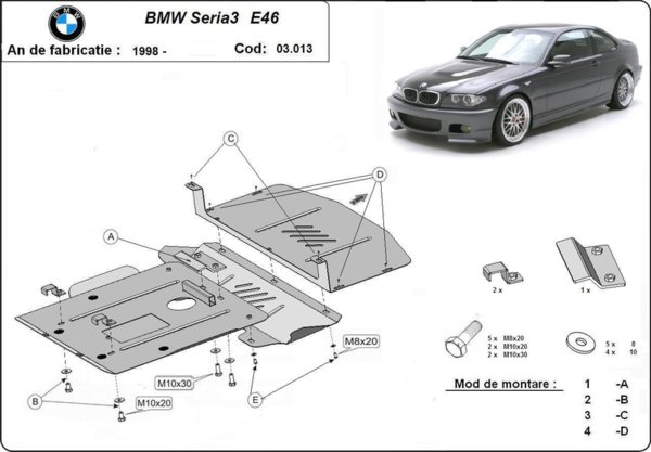 Метална кора под двигател BMW 3 Ser (E46) от 1998 до 2001