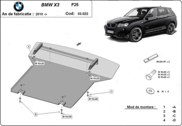 Метална кора под двигател BMW X3 (F25) от 2010