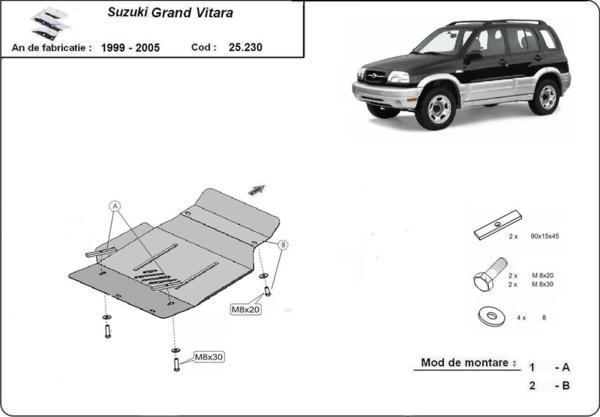 Метална кора под двигател SUZUKI GRAND VITARA от 1999 до 2004