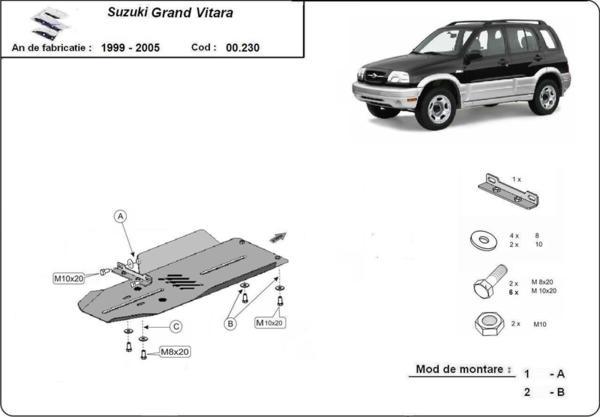 Метална кора под скоростна кутия SUZUKI GRAND VITARA от 1999 до 2004