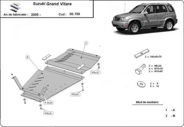 Метална кора под скоростната кутия и диференциал SUZUKI GRAND VITARA от 2005 до 2015