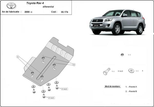 Метална кора под диференциал TOYOTA RAV4 от 2006 до 2010