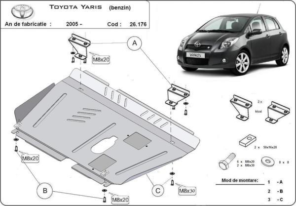 Метална кора под двигател и скоростна кутия - бензин TOYOTA YARIS от 2009 до 2011