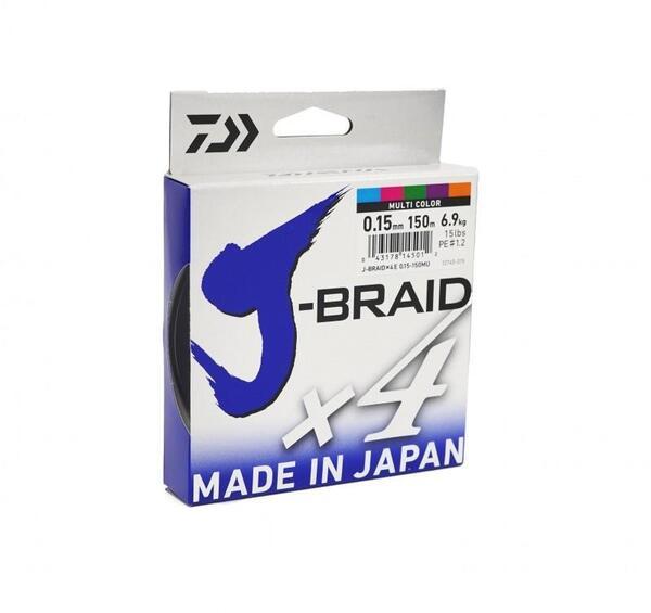 Плетено Влакно J-BRAID X4 - 150м / 0.13mm.PE 1.0 multi color