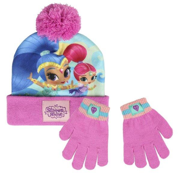 Детска шапка с пискюл и ръкавици SHIMMER AND SHINE (3218)