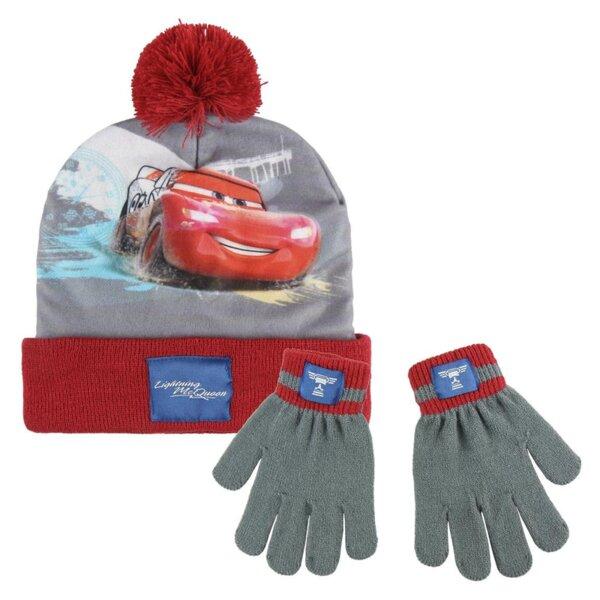 Детска шапка с пискюл и ръкавици CARS (3212)